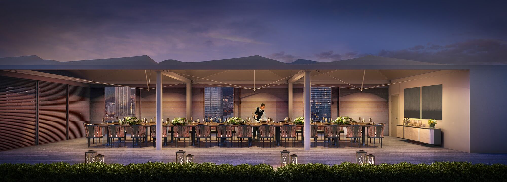 Howard-Hughes_Ward-Gateway_Luxury-Residential-Amenity-Deck-Pavilion-Dusk-Event